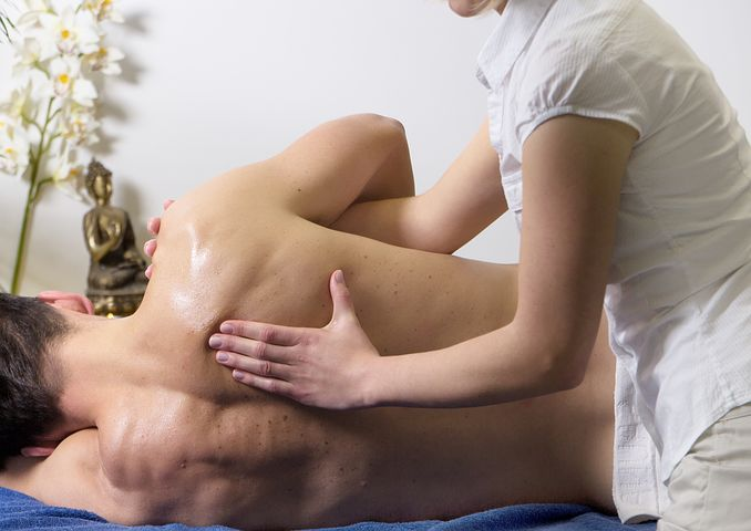 man getting an upper body massage